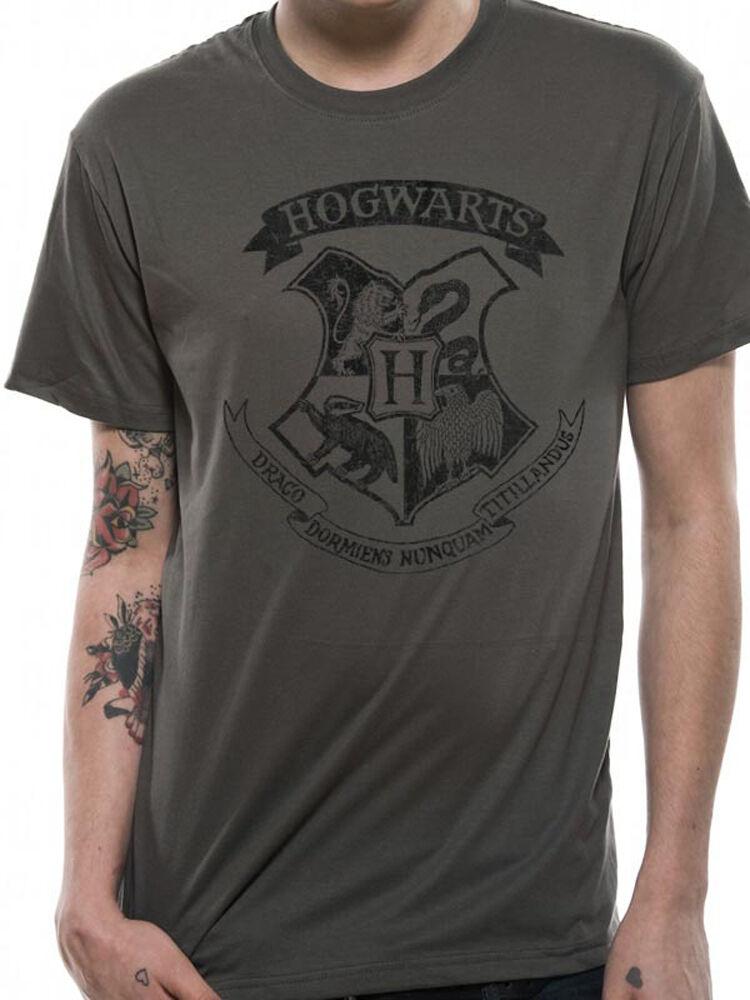 Harry Potter House Gryffindor Crest Official Hogwarts Logo Grey Mens T-shirt