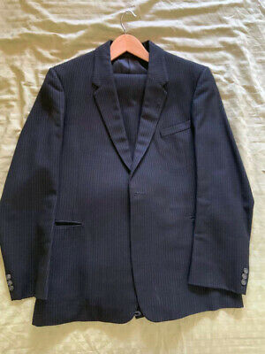 1950s Mens Suits & Sport Coats   50s Suits & Blazers Rare early 1950s black textured single-breasted men's wool 2-piece suit $187.23 AT vintagedancer.com