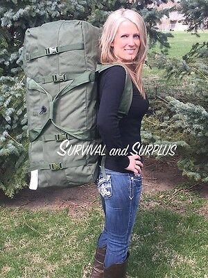 Used USGI Military Deployment Duffle Bag Flight Sea Pack w/ Compression Straps