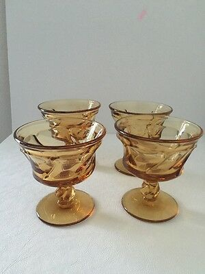 "Amber Glass Set Of 4 Goblets 4 1/8"" Tall"