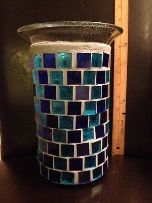 HUGE Mosaic Stained Glass Blue Hurricane Pillar Candle Holder Vase - (Vase Candle Stained Glass)