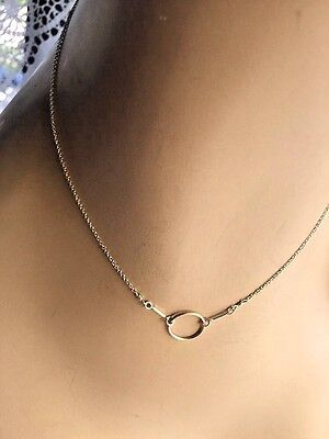 Vintage Sterling Silver 925 Linked Ring Pendant Chain Choker Necklace