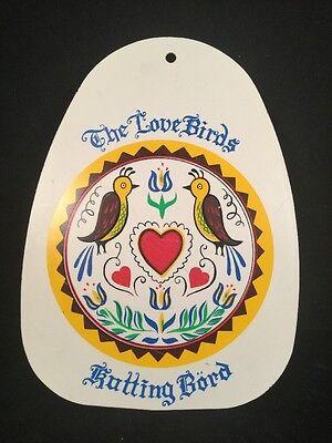 VTG Mid-Century Swedish Folk Art Plastic Cutting Board Love Birds Kutting Bord