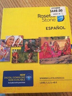 Rosetta Stone Spanish  Latin America  Level 1 5 Cd Set W Headset   Mic   Mac Win