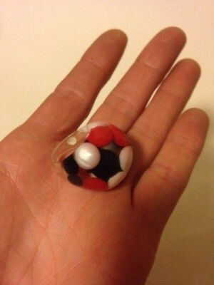 Vintage Modernist Lucite Clear Resin Polka Dot Inclusion Ring Red Black White