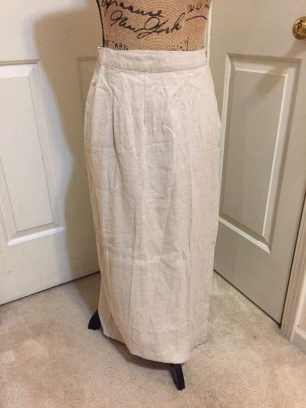 VAN HEUSEN  Beige Linen Blend Maxi Long Skirt_Wrap Style_Sz M_MODEST NO SLITS