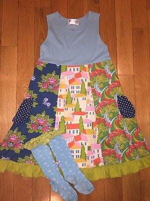 Matilda Jane Bay Winds Ribbed Tank Dress   Nova Socks Blue Green Ruffle Set 12