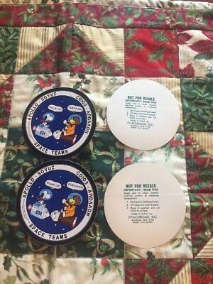 Lot Of Two Snoopy Peanuts Apollo Soyuz Space Teams Vintage Nasa  Decal   Sticker