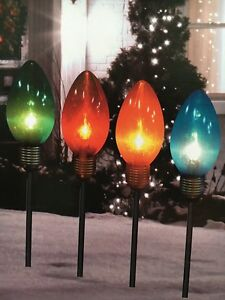 Giant Bulb Pathway Markers Outdoor Christmas Decoration Yard Art Set of 4