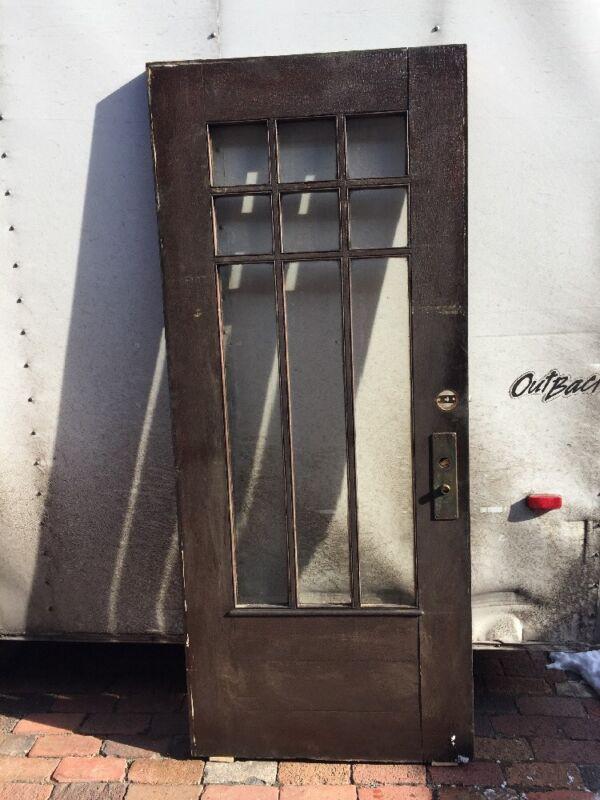 Ar 122 Antique Beveled Glass Town House Entrance Door Oak