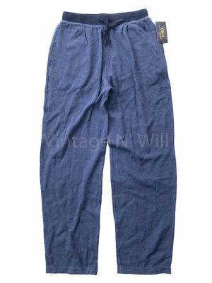 Polo Ralph Lauren Mens Blue Wash Waffle Knit Contrast Band Lounge Pants Pajama