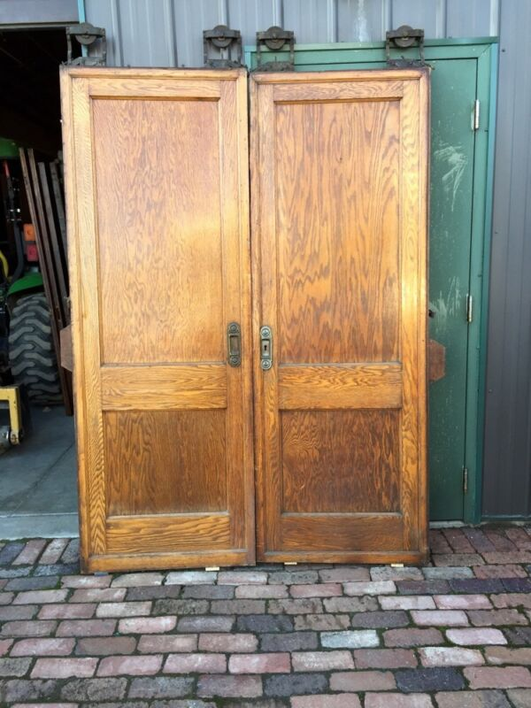 A R 9 One Set Oak 2 Panel Flat Pocket Doors With Hardware