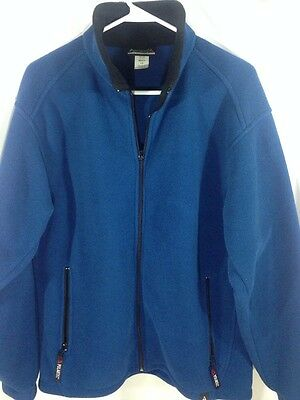 (Avalanche Wear Polartec Blue Full Zip Mock Neck Fleece Sweater Shirt Jacket Sz L)