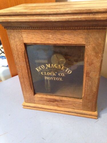 Rare Antique Eco Magneto Clock Co. Time Recorder Seth Thomas Movement Oak