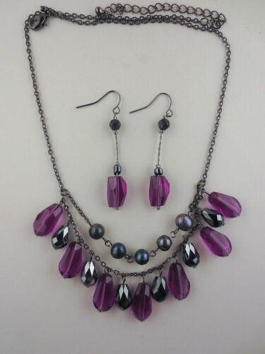 Vintage Style Dangling Amethyst/Hematite Bead Necklace Earrings