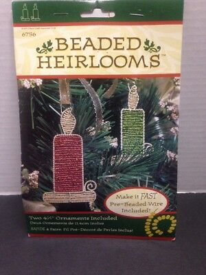 Vintage Fibre Craft Christmas Ornaments Beaded Heirloom Candles Set Of 2 New