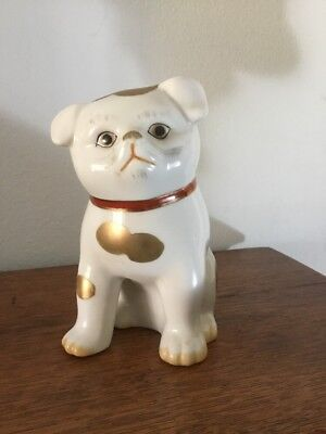 """Vintage Rare Porcelain Hand Painted Kutani 6"""" Puppy With Makers Mark And Label"""