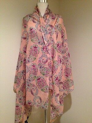 ETRO 100% WOOL SHAWL ABSTRACT PATTERN WRAP SCARF PINK 76X36 New