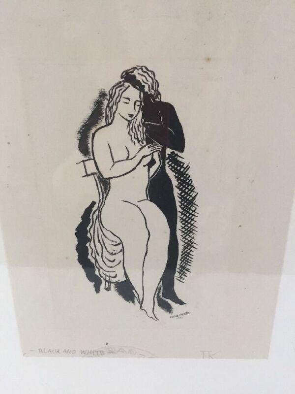 "Conrad Kramer $800 price ""Nude"" Original Signed Ink Drawing Fletcher Gallery."