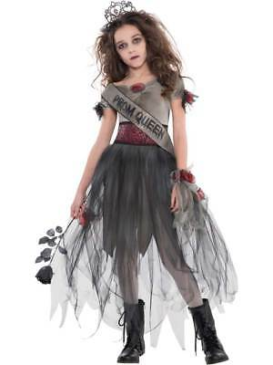 Childs Teen Girls Prombie Prom Queen Halloween Zombie Costume Horror Fancy Dress