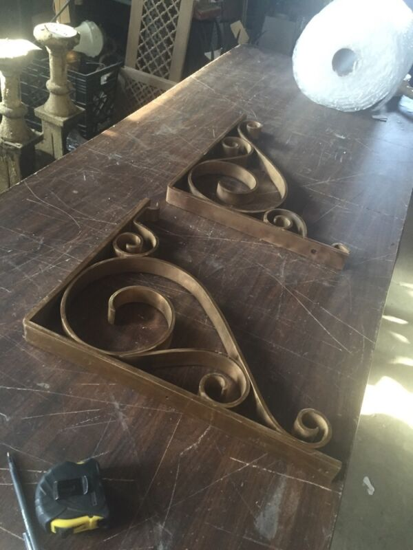One Pair Antique Heavy Brass Brackets From A Bank