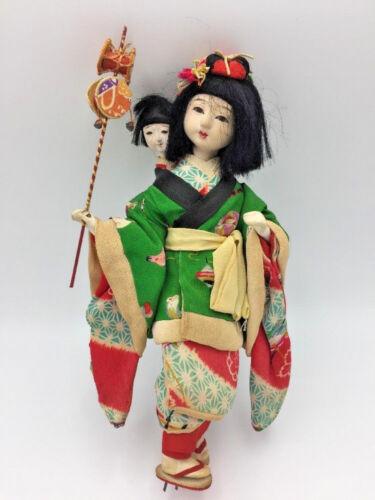 "Antique JAPANESE Gofun Isho-Ningyo DOLL Nanny w/ Child Silk Kimono Glass Eyes 9"""