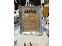 5 x Harry Potter book page spell word photo frames - wedding table names or home decor