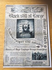 Harry Potter Inspired Laminated Daily Prophet Front Page Black Still At Large