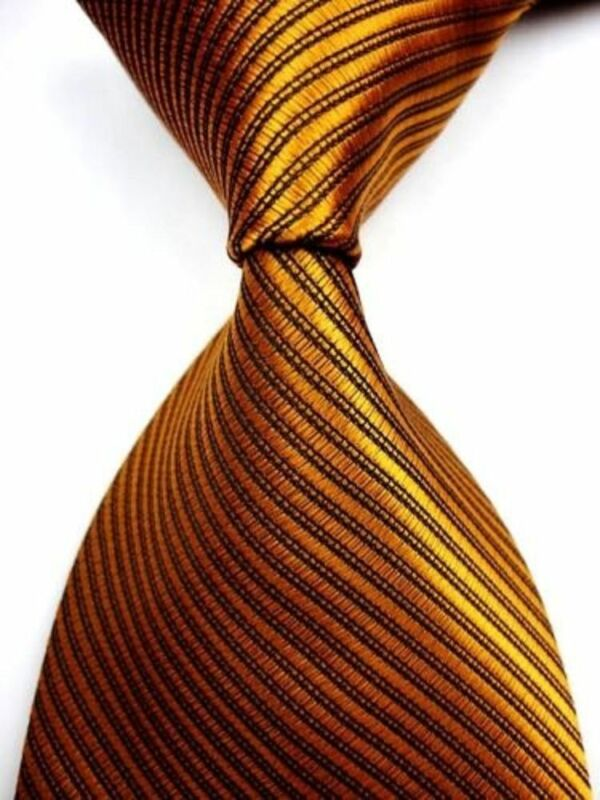 NWOT Gold w/ Black Lining Stripe Solid Jacquard Woven Neck Tie (E)