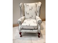 Re-upholstered wingback chair / armchair