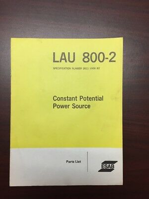 Esab Lay 800-2 Constant Potential Power Source Parts List