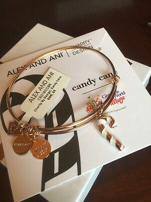RetIred Alex and Ani CANDY CANE Shiny Rose Gold Bangle New W/ Tag Card & -