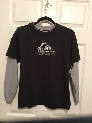 QUIKSILVER Long Sleeve Graphic T-Shirt Size Youth M Medium black grey (Quiksilver Youths Long Sleeve)
