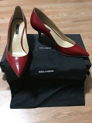 DOLCE & GABBANA Womens Red Leather Pointed Toe Dress Pumps Heels 36 NEW