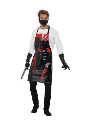 Blutiges Schlächter Set Halloween Herren Kostüm Butcher Horror Mörder (Blutige Mörder Kostüm)
