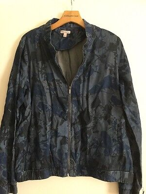 New Juicy Couture Spring Jacket Size L Zip Up Denim Looking Floral Pattern Couture Spring