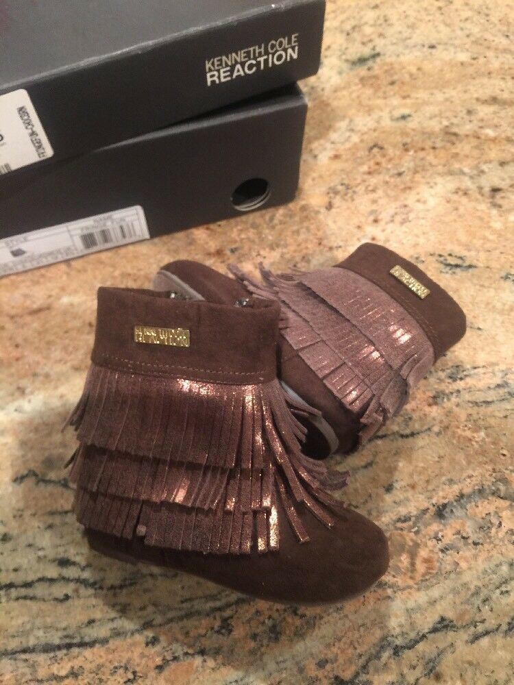 New Kenneth Cole Reaction Baby Girl Brown Leather Fringe Boots 5