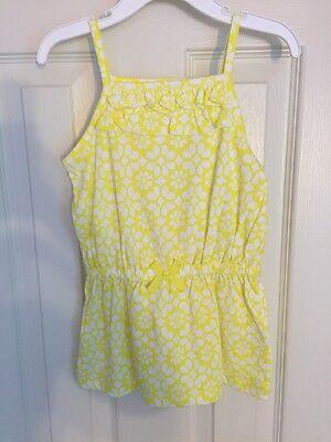 NWT - Toddler Girls Carter's Yellow & White Tunic Spaghetti Strap Top, Size 3T