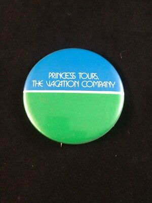 Vtg Princess Tours Pinback Button Stick Pin The Vacation Company Blue Green