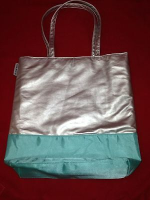 Von Maur Blue   Silver Large Padded Lined Shopper Tote Bag Minty 14 X 12 X 4