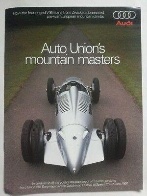 Audi Auto Unions Mountain Masters V16 Bergwagen Goodwood Festival 1997 Brochure