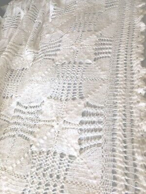 Hand Crochet King Sz  Bed Cover Vintage European 100% White Cotton