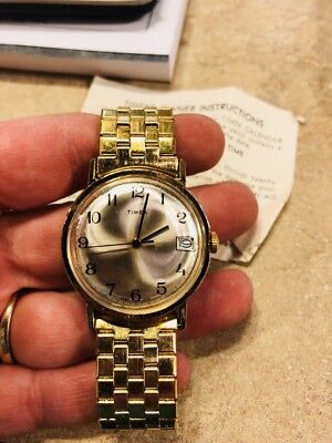 TIMEX ELECTRONIC CALENDAR SWEEP SECOND HAND WATCH GOLDTONE