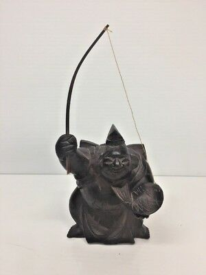 Antique Chinese Carved Wood Figurine Fisherman Statue