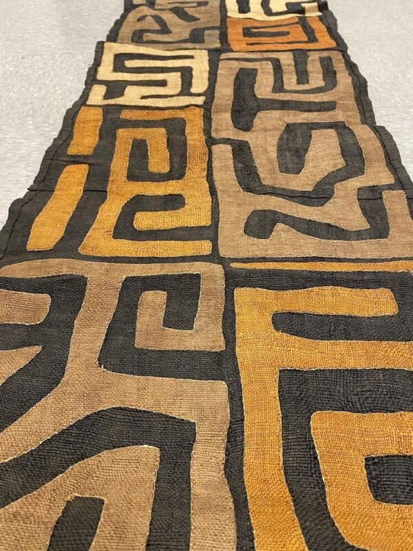 genuine 9 feet African Congo Kuba Raffia cloth fabric natural woven handmade