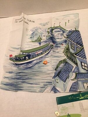 Vtg 1980S Wuxi Scenic China Handkerchief Cloth Tourist Souvenir Grand Canal