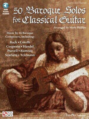 50 Baroque Solos Classical Guitar Sheet Music Guitar Book and Audio 002500713 Baroque Music Book