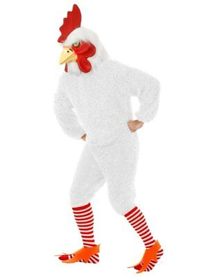 White Rocking Rooster Funky Chicken Adult Costume Jumpsuit Bird Soft Fur & - White Bird Costume