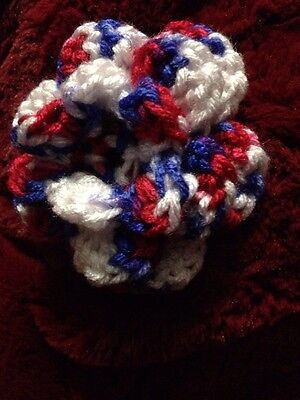 SALE!!!  Red White Blue Crochet Flower for Dog or Cat Collar 4th of July!!!!!