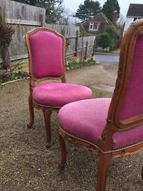 Pair of antique French Armchairs hall chairs bedroom chairs